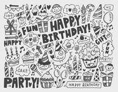 каракули день рождения партии фон — Cтоковый вектор