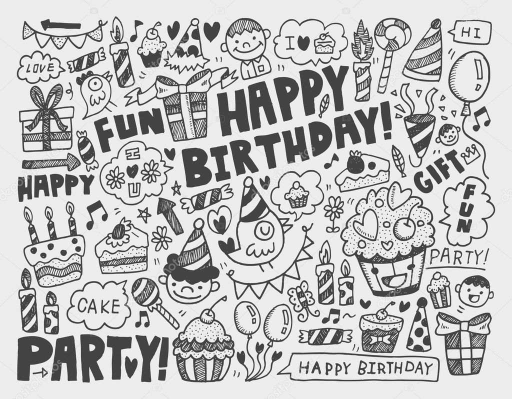 Doodle Geburtstag Partei Hintergrund Stockvektor 32457653