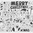 Doodle Christmas background — Stockvectorbeeld