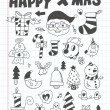 Doodle Christmas icon set — Stock Vector