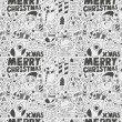 Seamless Doodle Christmas pattern — Vector de stock