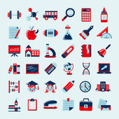Retro education icons set,back to school — Stock Vector