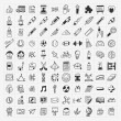 100 Back to School doodle hand-draw icon set — Stock Vector