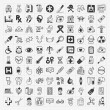 100 doodle Medical icons set — Stock Vector
