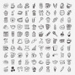 100 doodle coffee element icons set — Stock Vector #34421993