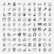 100 Doodle Birthday party icons set — Stock Vector