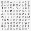 100 doodle coffee element icons set — Stock Vector