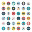 Set of Retro flat education icons,back to school — Stock Vector