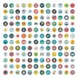Set of vector network and social media icons. Flat icon — Vettoriale Stock
