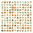 Retro flat network icon set — Stock Vector #36141109