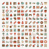 Retro flat network icon set — Stockvector