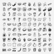 Stock Vector: Doodle food icons set