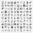 Doodle communication icons set — Stock Vector
