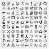 Doodle shopping icons set — Stock Vector