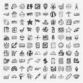 Doodle travel icons set — Vecteur