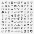 Stock Vector: Doodle communication icons set
