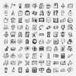 Back to School doodle hand-draw icon set — Stock Vector