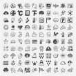 Doodle weather icons set — Stock Vector