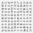 Stock Vector: Doodle transport icons set