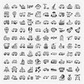 Doodle transport icons set — Stock Vector