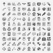 Doodle pet icons set — Stock Vector