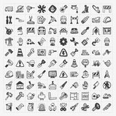 Doodle construction icons — Vector de stock