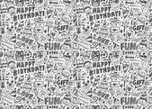 Seamless Doodle Birthday party pattern background — Stok Vektör