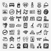 Doodle hotel icons set — Stock Vector