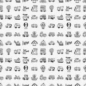 Seamless doodle transport pattern — Stock Vector