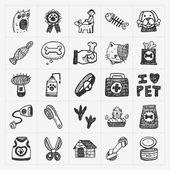 Iconos del doodle mascotas establecen — Vector de stock