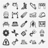 Doodle construction icons — Stock Vector
