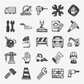 Doodle construction icons — Vettoriale Stock