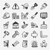 Doodle construction icons — Wektor stockowy