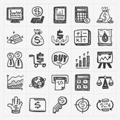 Doodle financial icons — Stock Vector