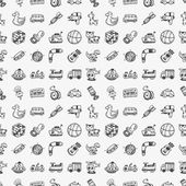 Seamless doodle toy pattern — Stock Vector