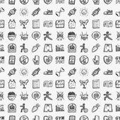 シームレスな落書きフィットネス パターン — ストックベクタ