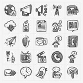 Doodle communication icons — Stock vektor