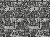 Seamless doodle space pattern — Stock Vector