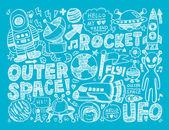 Elemento espacio doodle — Vector de stock