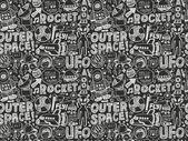 Nahtlose doodle raum muster — Stockvektor