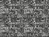 Seamless doodle space pattern — Vettoriale Stock