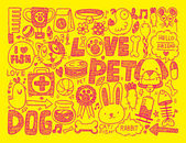 Seamless doodle pet pattern — Stock Vector