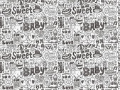 Doodle baby pattern — Stock Vector