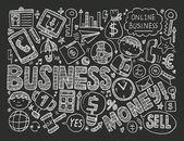 Doodle business background — ストックベクタ