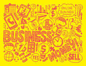 Doodle business background — Vettoriale Stock