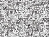 Doodle back to school seamless pattern — Stockvektor