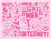 Doodle internet web background — Stock Vector