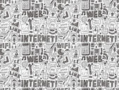 Doodle internet web seamless pattern — Stock Vector