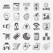 Doodle internet web icon set — Stock Vector