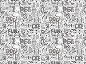 Doodle pet pattern — Stok Vektör